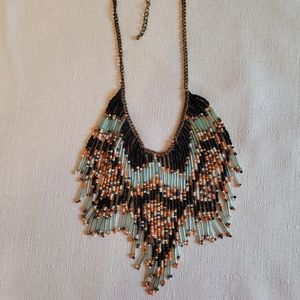 Multi-Colored Beaded Necklace w/Gold Toned Chain